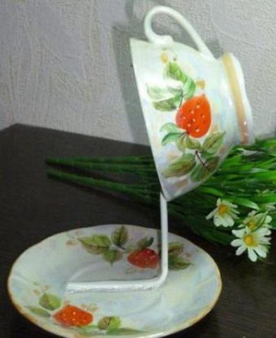 تزیین فنجان با گل,آموزش تزیین فنجان با گل