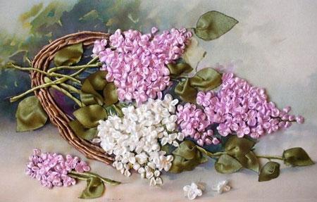 دوخت گل های روبانی, دوخت یاس روبان دوزی