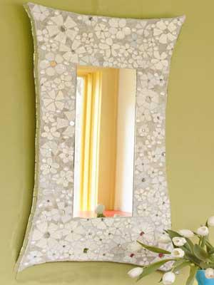طرح کاشی شکسته روی دیوار آموزش ساخت آینه با تکه های ظروف شکسته