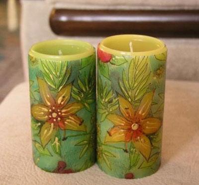 تزیین شمع های دکوپاژ,تزیین شمع های هفت سین