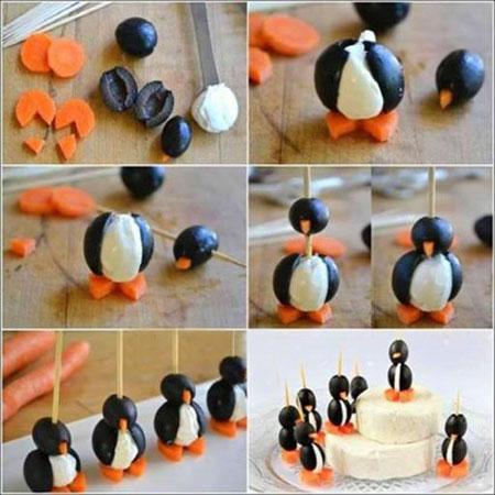 آموزش تصویری درست کردن پنگوئن با پنیر و زیتون