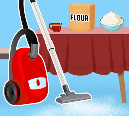 مواد خطرناک برای جارو برقی,جارو زدن آرد ممنوع