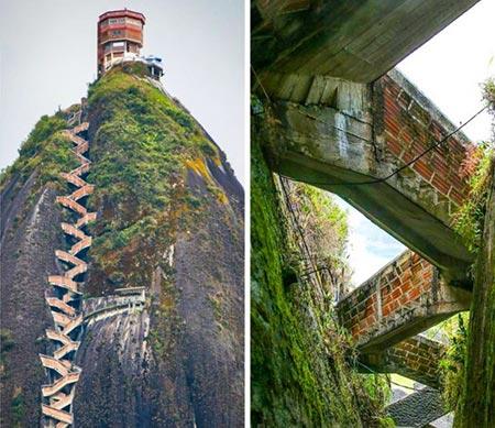 خطرناک ترین پله ها,پله های خطرناک,صخره ال پنون