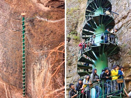 خطرناک ترین پله ها,پله های خطرناک,پله های مارپیچی کوه تایهانگ