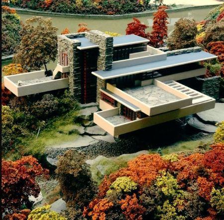 عکس خانه آبشار,سبک خانه آبشار فرانک لوید رایت,عکس و پلان خانه آبشار