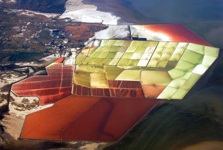 دیدنی های خلیج سان فرانسیسکو,استخرهای رنگارنگ نمک,تصاویر فرآیند تولید نمک