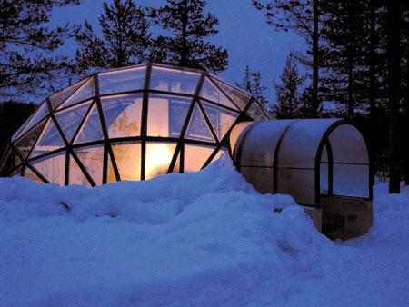 روستای اسکیمو,تصاویر روستای اسکیمو در فنلاند, کلبه های شیشه ای روستای اسکیمو