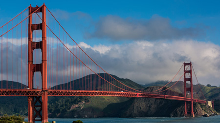 جسر البوابة الذهبية  المعلق بسان فرانسيسكو امريكا