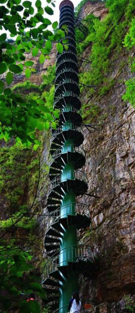 تصویر پلکان مارپیچ کوه تایهانگ در چین, قله ی کوه تایهانگ چین, ارتفاع کوه تایهانگ چین