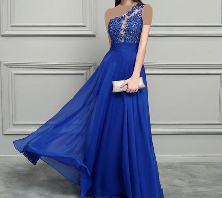 لباس مجلسی به رنگ آبی, لباس شب به رنگ آبی