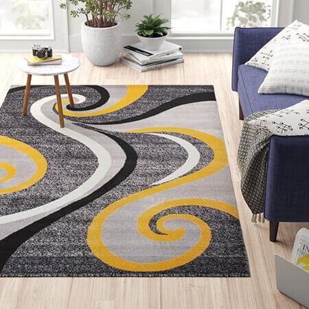شیک ترین فرش های رنگ سال, فرش به رنگ زرد و خاکستری
