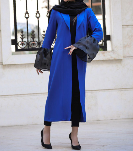 مانتو به رنگ آبی کلاسیک,جدیدترین مدل مانتوها