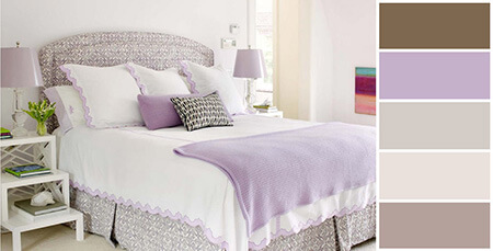 بهترین ترکیب های رنگ یاسی در دکوراسیون اتاق خواب,رنگ های مناسب با رنگ یاسی,ایده هایی برای دکوراسیون یاسی اتاق خواب