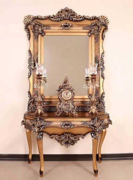 مدل آینه شمعدان ملیله, مدل میز کنسول و آینه