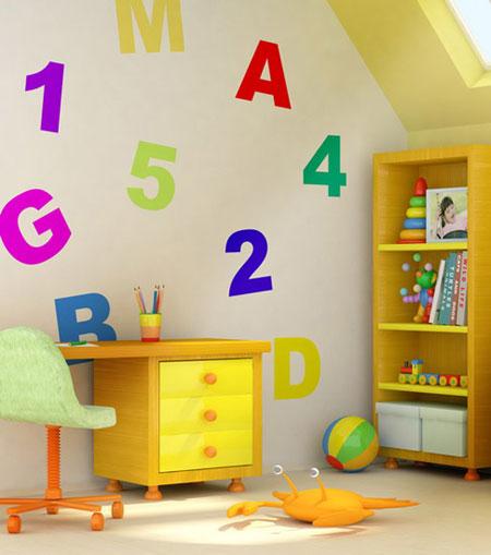 تزیین اتاق کودک,تزیین اتاق کودک با استنسیل