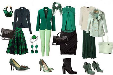 جدول ست رنگ لباس,رنگ سبز یشمی با چه رنگی ست می شود