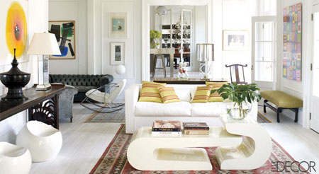 چیدمان زمستانی خانه, دکوراسیون با کاناپه های سفید