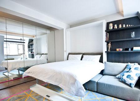 تلفیق اتاق خواب و اتاق نشیمن,اتاق خواب و اتاق نشیمن در آپارتمان