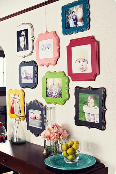 چیدمان قاب ها روی دیوار, نحوه چیدن قاب عکس روی دیوار