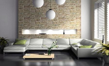 دیوارهای سنگی در اتاق نشیمن,دکوراسیون دیوارهای سنگی در اتاق نشیمن