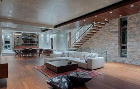 طراحی داخلی دیوارهای سنگی,دیوارهای سنگی در اتاق نشیمن
