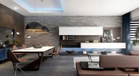 دکوراسیون دیوارهای سنگی در اتاق نشیمن,مدل دیوارهای سنگی اتاق نشیمن