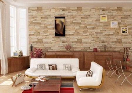 کاربرد دیوارهای سنگی در خانه,مدل دیوارهای سنگی اتاق نشیمن