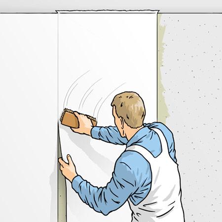 تکنیک های چسباندن کاغذ دیواری, مراحل چسباندن کاغذ دیواری