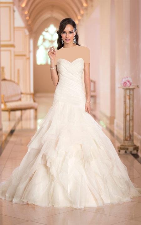 ویسگون لباس عروس ساده,ویسگون مدل لباس عروس نباتی