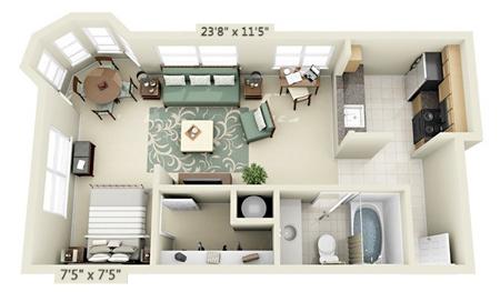 طراحی و چیدمان آپارتمان,چیدمان سه بعدی آپارتمان