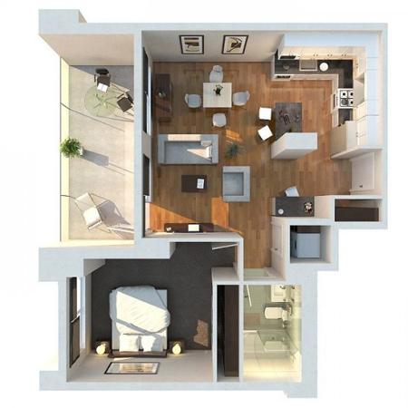 طراحی خانه های یک خوابه, نقشه آپارتمان یک خوابه