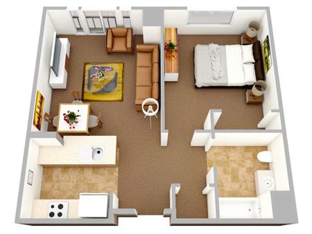 نقشه آپارتمان یک خوابه,نقشه های سه بعدی آپارتمان