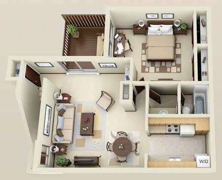 آپارتمان های یک خوابه,چیدمان سه بعدی آپارتمان