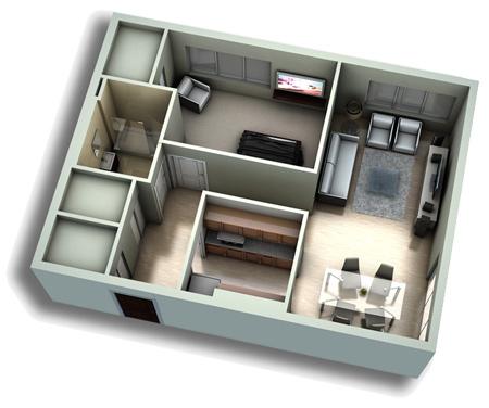 نقشه آپارتمان, آپارتمان های یک خوابه