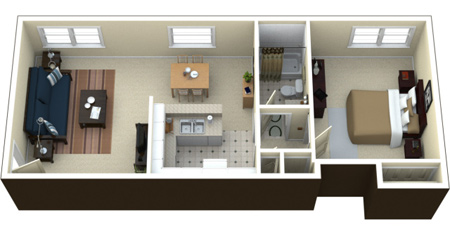 چیدمان سه بعدی آپارتمان,طراحی های مدرن آپارتمان های یک خوابه