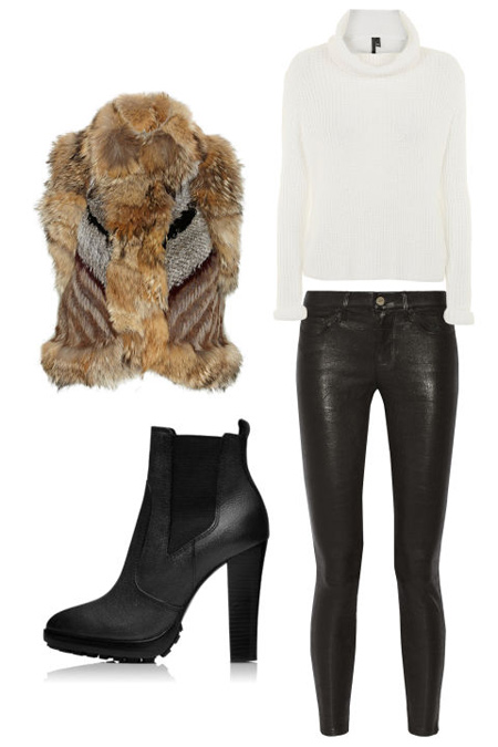 ست لباس زنانه زمستانی, پیشنهادات مجله ال برای ست با شلوار چرم
