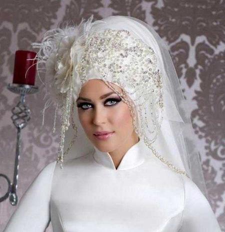 مدل تورهای عروس های با حجاب, مدل تورهای نگین دار عروس