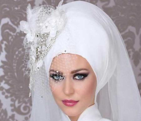 شیفون عروس های محجبه,تاج و تور عروس