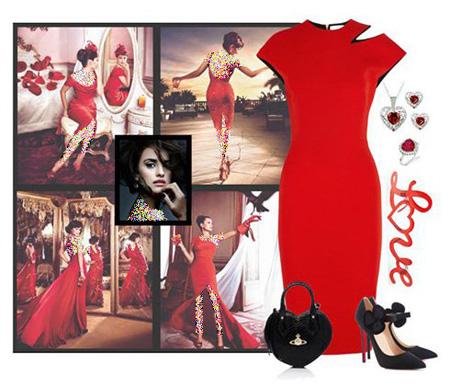 ست لباس شب به رنگ قرمز,ست لباس شب به سبک پنه لوپه کروز