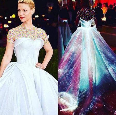 مدل لباس درخشان کلیر دینز در مراسم مت گالا 2016,تصاویری از لباس درخشان کلیر دینز