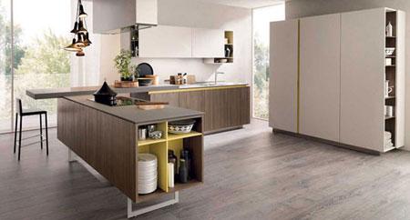 مدل آشپزخانه به رنگ سفید و طرح چوب,دکوراسیون ساده آشپزخانه