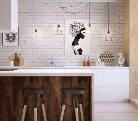 دکوراسیون آشپزخانه با طرح چوب, دکوراسیون آشپزخانه سفید