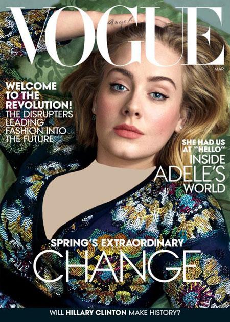 تصاویر ادل روی مجله ووگ,تصاویر جدید ادل روی مجله ووگ