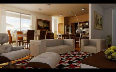 طرح از اتاق ناهار خوري و اتاق نشيمن