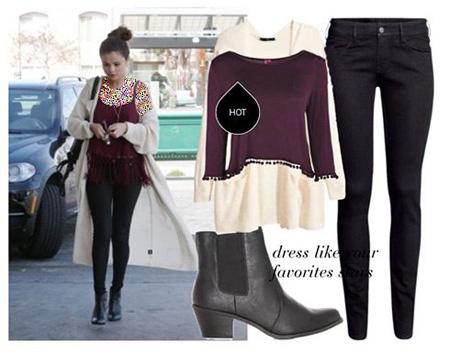 ست کردن لباس به سبک سلنا گومز Selena Gomez برای پاییز