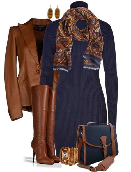 ست سورمه ای و قهوه ای, نحوه ست کردن لباس زمستانی