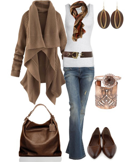 ست لباس های زمستانه, ست کردن لباس با رنگ سورمه ای و قهوه ای