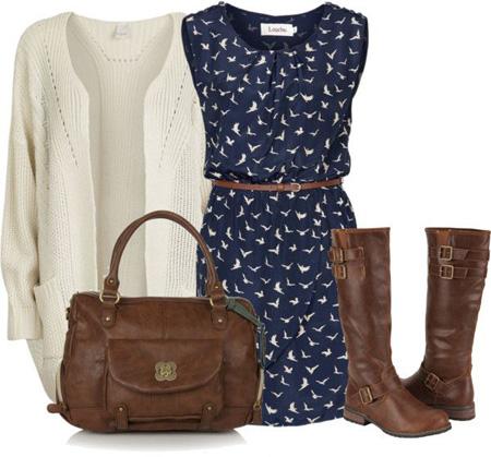 ست کردن لباس با رنگ سورمه ای و قهوه ای, ست کردن لباس زمستانی به رنگ سورمه ای و قهوه ای