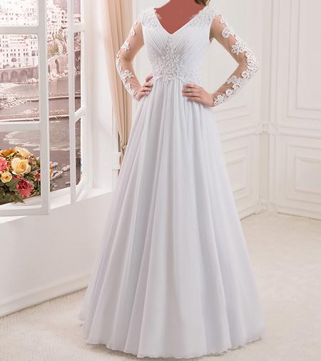 مدل لباس عروس با حجاب, لباس عروس آستین دار