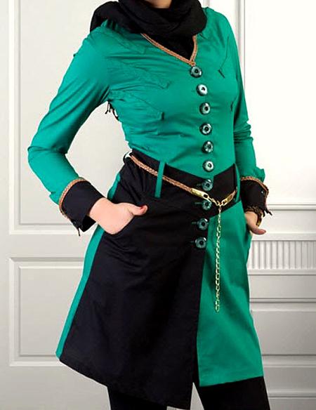 مدل مانتو سبز رنگ,مدل مانتو به رنگ سبز